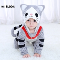 2018 Spring Autumn New Lovely Baby Romper Animal Gray Cat Infant Pajamas Kids Cute Cartoon Toddler Newborn Girl Boy Clothes