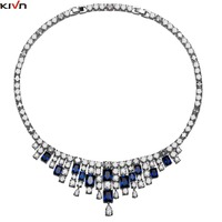 KIVN Fashion Jewelry blue Heart Cubic Zirconia Luxury Bridal Wedding Necklaces for Womens Girls Bridesmaids Christmas Gifts