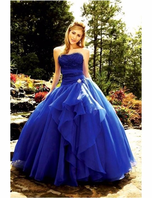 2016 Royal Blue Strapless Ball Gown Lace Up Prom Dresses Off the ...