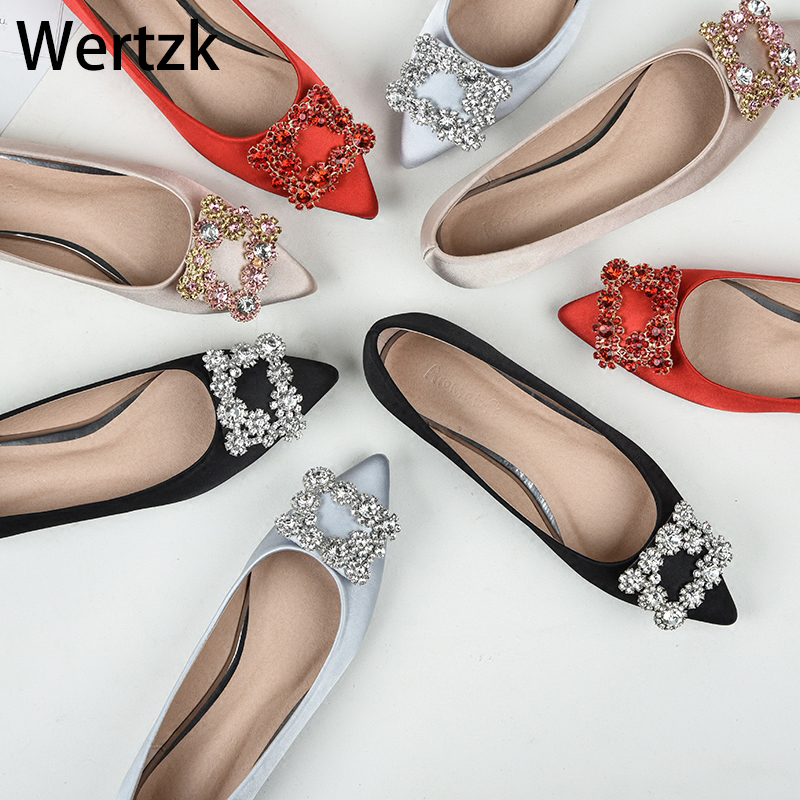 Pointed Toe Flats Shoes Elegant Lady Shoes Wedding Shoes Plus Size43 Genuine Leather Women Flat Ballet Shoes Bling Crystal C026