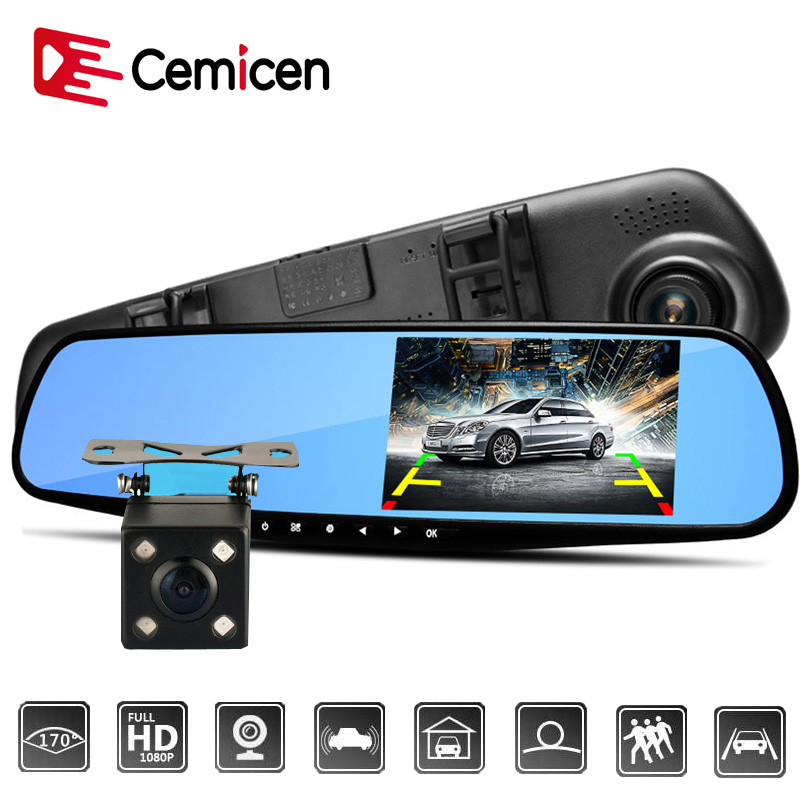 Cemicen 4.3 Inch Full HD 1080P Car Dvr Camera Auto Rearview Mirror Digital Video Recorder Dual Lens Registratory Camcorder
