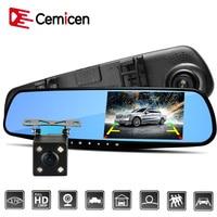 Cemicen 4.3 Inch Full HD 1080P Car Dvr Camera Auto Rearview Mirror Digital Video Recorder Dual Lens Registratory Camcorder