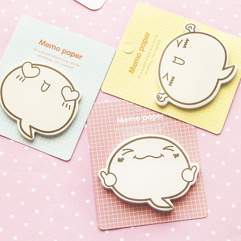 4pcs Fighting Face Memo Paper Cute Stickers Post Sticky Note Adhesive Note It Pad Stationery Office School Supplies A6572