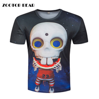Skull Printed Tshirts Men Funny T shirts Galaxy Cartoon Tops Novelty Harajuku 3D 2017 Short Sleeve Skull Tees RED SPY