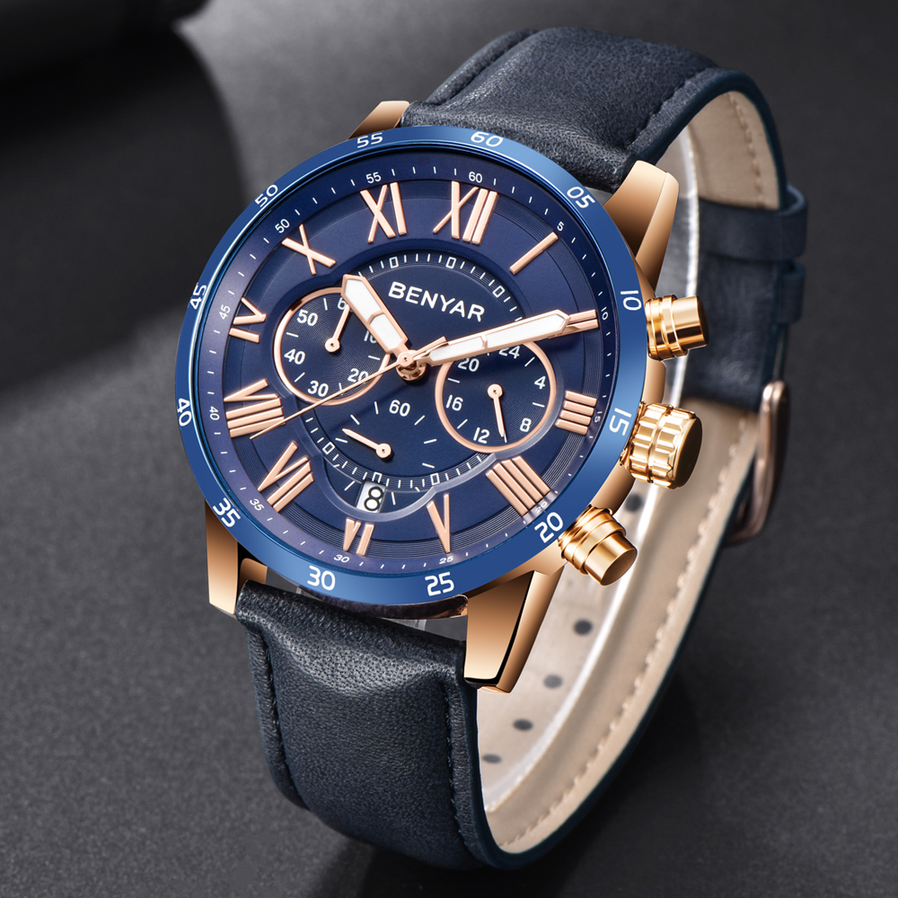 2018 BENYAR Montres Hommes Marque De Luxe Quartz Montre De Mode Chronographe Sport Reloj Hombre Horloge Mâle heure relogio Masculino