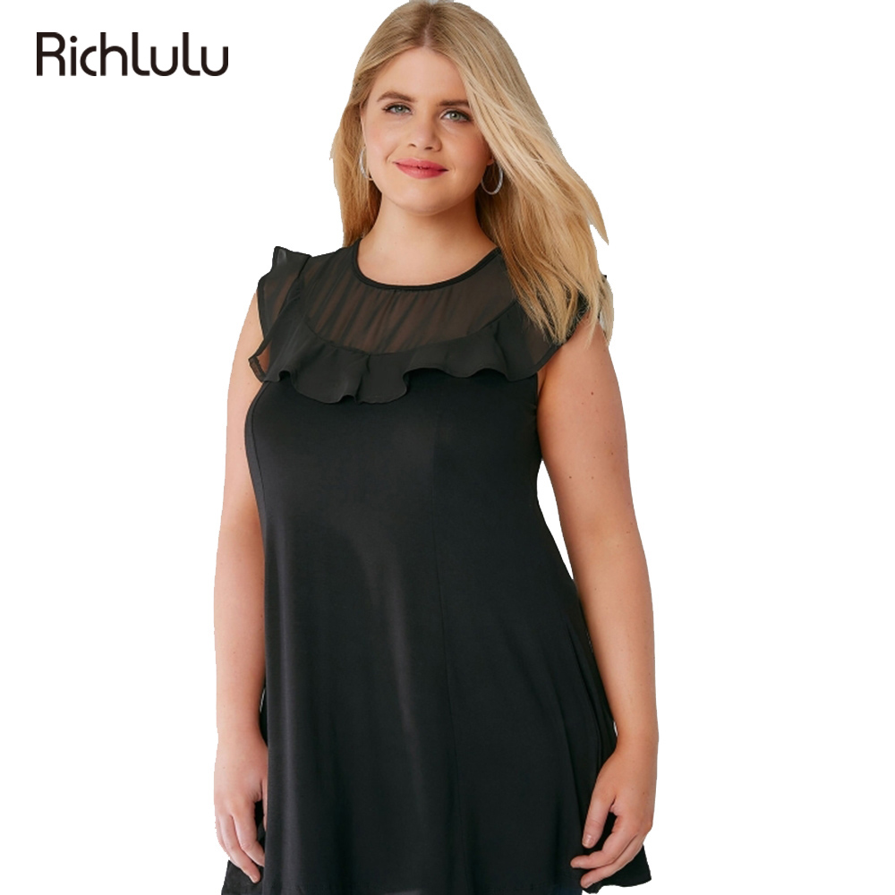 Richlulu plus size new fashion women clothing black for Large shirt neck size