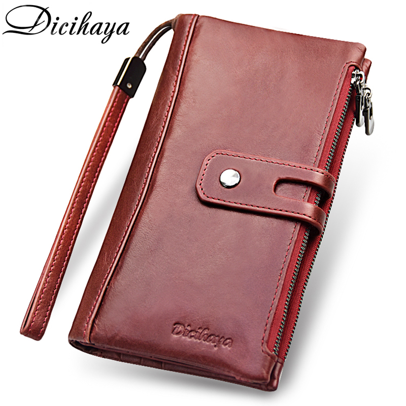 DICIHAYA Brand Genuine Leather Women Wallet Red Purse Ladies Clutch Purses Card Holder Women Phone Bags Double Zippers Wallets