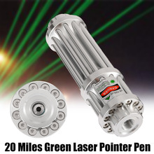 Aluminum Green Laser Pen Silver 20 Miles Pointer Adjustable Beam Light 0.5MW 532nm Continuous Line Gifts