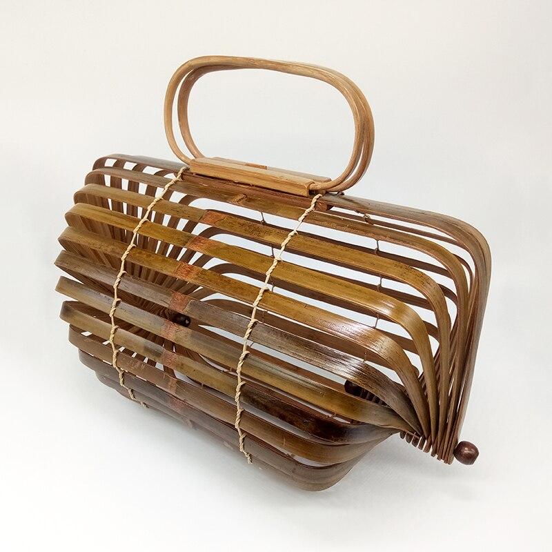 Sac en bambou femmes Top-poignée sac de plage été Boho tissé en bois évider pochette pour femmes sac à main pliable rotatif conception d'axe