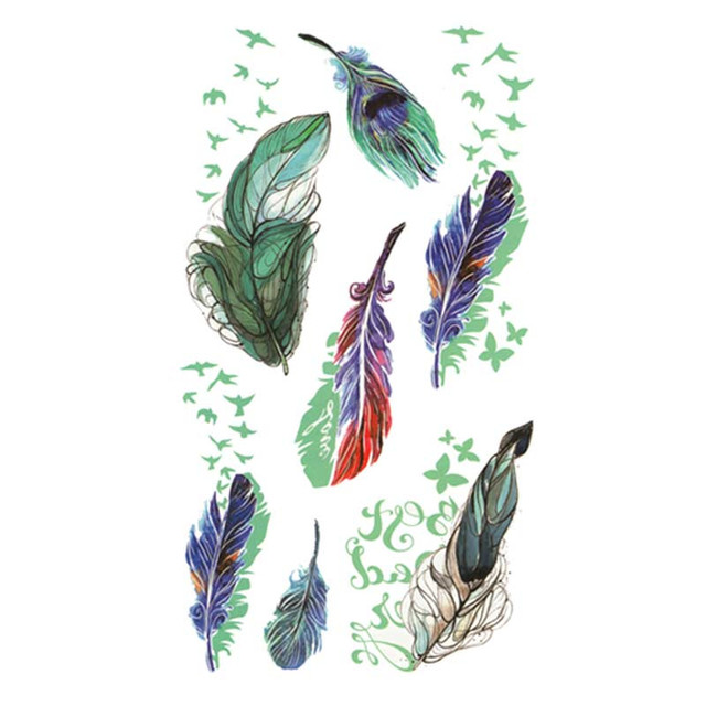 48299775be76b Waterproof Temporary Fake Tattoo Stickers Watercolor Green Feather Swallows  Large Design Body Art Make Up Tools