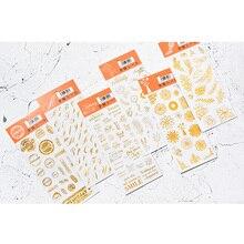 40pack/lot Golden Sticker hot stamping sticker Plant postmark letter series flower deco Creative Handbook Diary DIY Deco