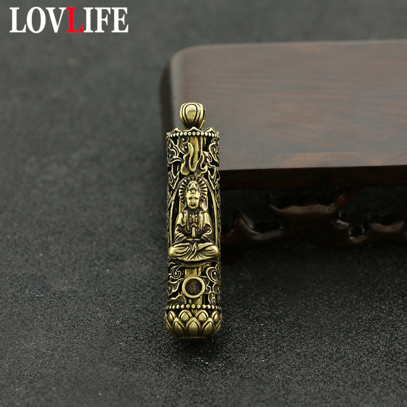 Vintage Brass Cylinder Buddha Statue Pendants Keychain Pure Copper Lotus Base Auspicious Clouds Pattern Lucky Key Chains Jewelry