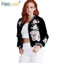 HAOYUAN Winter Fashion Woman Velvet Bomber Jackets 2016 Tiger Rose Embroidery Sukajan Outerwear Autumn Women Basic Coats Veste