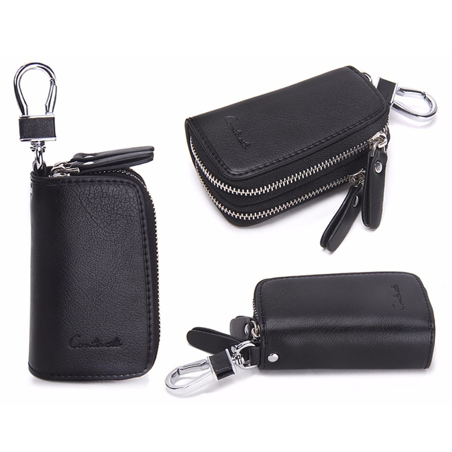 CONTACT'S Classic New Double Zip Men's Genuine Cow Leather Car Key Holder Multifunction Housekeeper  High Class Motor Key Case 1