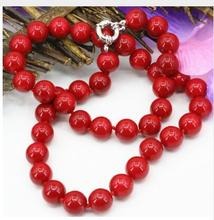 Women jewelry choker anime gem chocker artificial coral red stone jasper 10mm round beads chain necklace for women