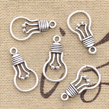 20pcs Charms Light Bulb 21x11mm Antique Making Pendant fit Vintage Tibetan Bronze Silver color DIY Handmade Jewelry cheap hroryn Zinc Alloy Fashion like photo Metal