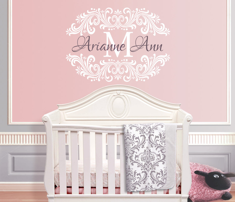 Baby Nursery Wall Decals Damask Frame Wall Stickers Home Decor For Teen  Girls Room Available In Personalized Name Decal ZA268 In Wall Stickers From  Home ...