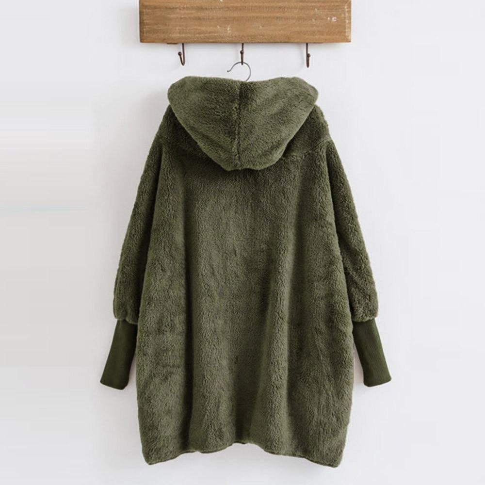 Women Hooded Coat Winter Warm Plush Pockets Cotton Coat Outwear Casual Hoodies Jacket Overcoat Top female outerwear 10