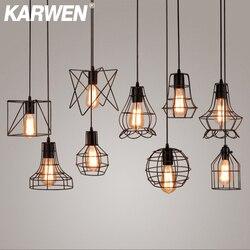 Karwen 펜던트 조명 lamparas de techo colgante moderna hanglamp 산업용 램프 로프트 펜던트 램프 금속 매달려 램프 e27