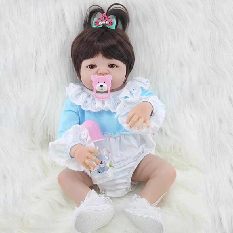 Full Silicone Reborn Girls Dolls Cute Cartoon Model with Bottle Pacifier Blue Fashion Silicone Girls Dolls Lifelike Toys for Kid full silicone reborn dolls