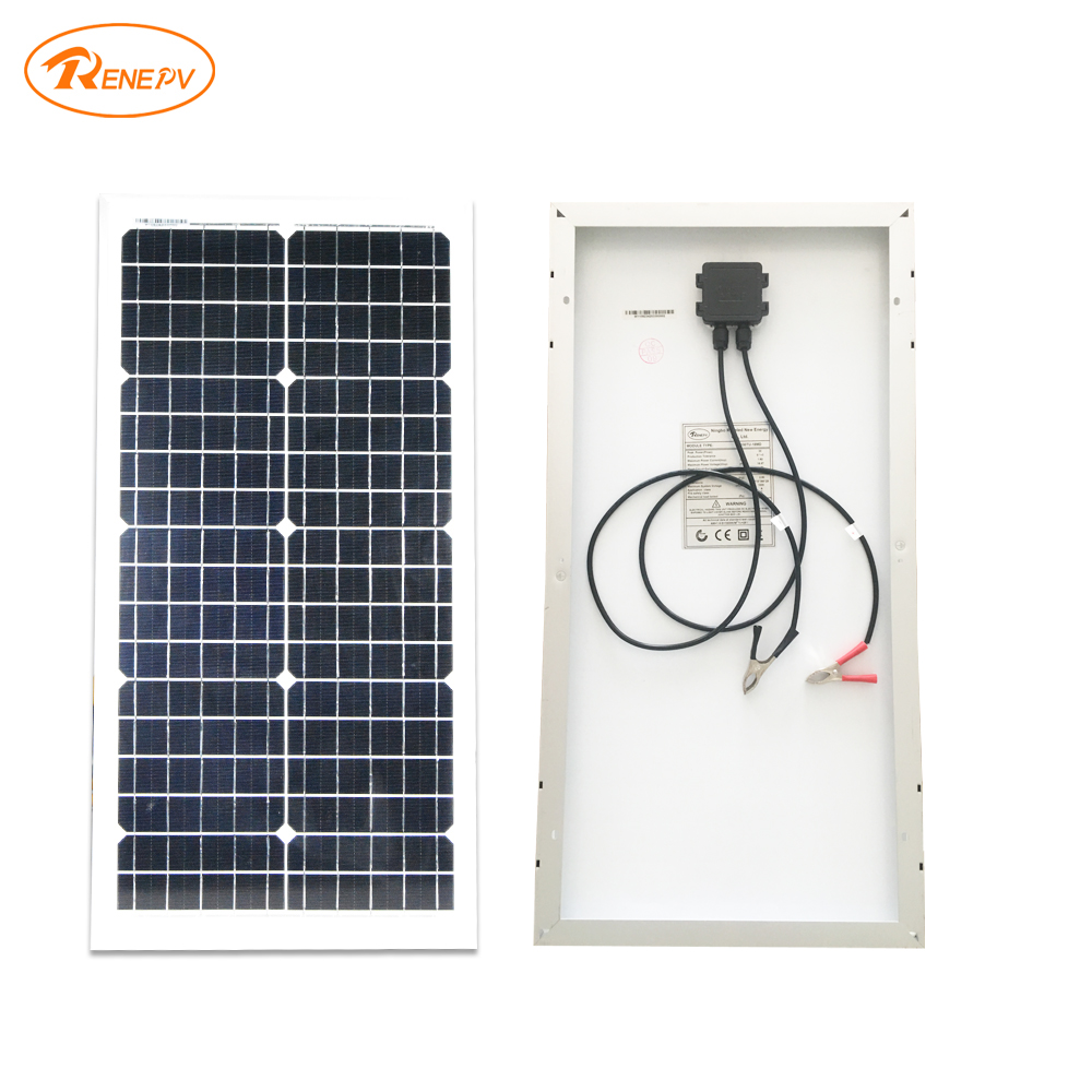 Renepv 30W monocrystalline silicon solar module 36pcs solar cells 18V outdoor for 12V battery power charging RD30TU-18MD renepv 20w polycrystalline solar panels 18v for 12v battery power charging kit