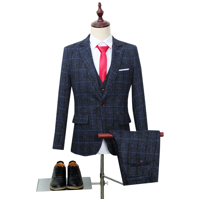 2019 mens british style suits 3 pieces plaid groom wedding suit spring new designers