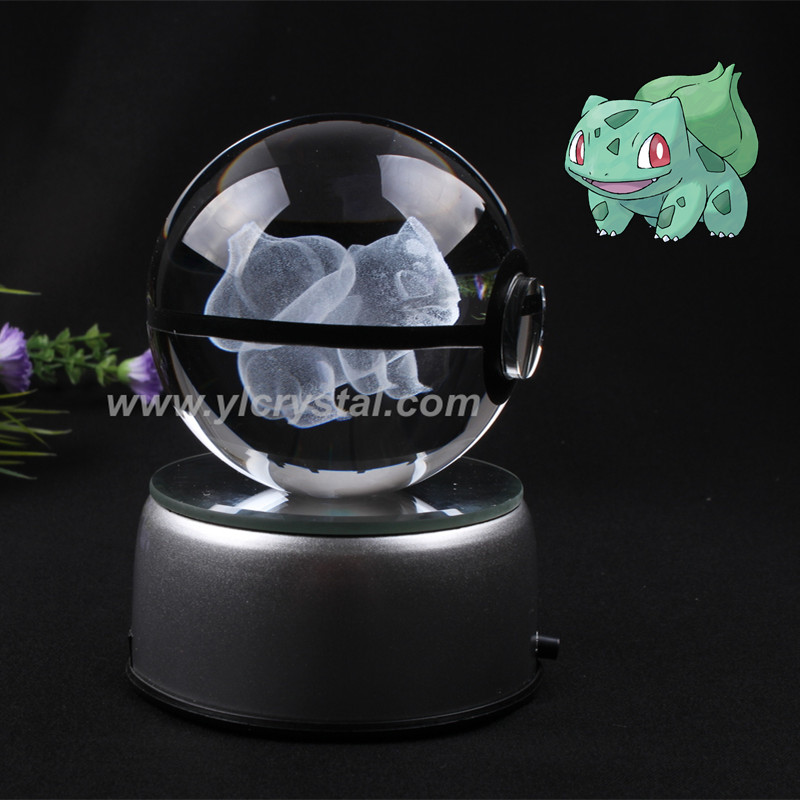 Pokemon Engraving Bulbasaur Round Crystal With Black Line Nice Fashion Ball With LED Base With Gift Box