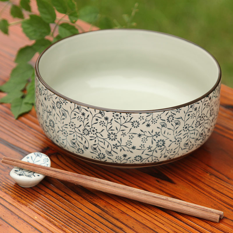 High Temperature Ceramic Blue And White Porcelain Big Soup