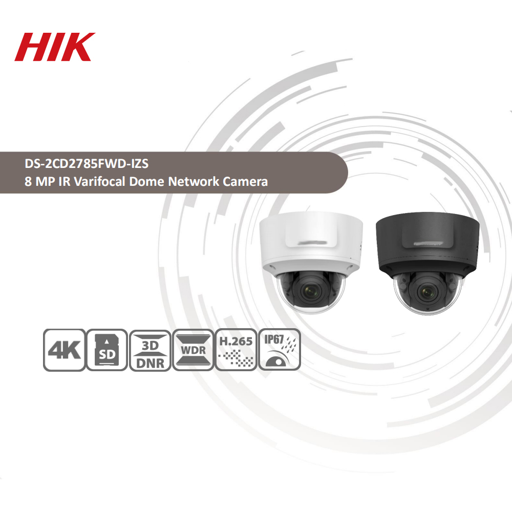 Image 2 - Hikvision Original DS 2CD2785FWD IZS Dome Camera 8MP POE CCTV Camera 50m IR Range IP67 IK10 H.265+ 2.8 12mm Zoom-in Surveillance Cameras from Security & Protection