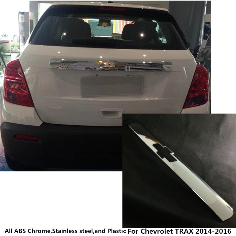 Stainless steel Rear back door License tailgate bumper frame plate trim lamp trunk parts 1pcs For Chevrolet TRAX 2014 2015 2016 car accessories rear trunk trim tailgate plate for volkswagen vw new sagitar 2012 2013 2014 stainless steel 1pc per set
