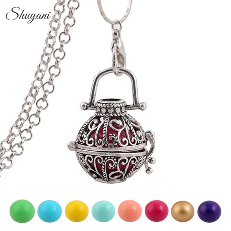 10PCS Pendant Necklace Pregnancy Chime Harmony Ball Caller Pendant Necklace Baby Angel Wishing Ball Pregnant Women Men Gift