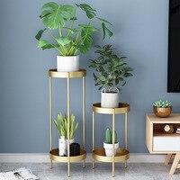 Nórdico 2 estande de plantas de metal para sala breve lâmpada de assoalho de luxo camadas flor do jardim do metal decorações flor estande de plantas de interior stand|Prateleiras de plantas| |  -