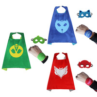PJ Cartoon Masks Cloak Cosplay Costumes Boys Girls Cosplay Cloak Gloves Clothes Halloween Christmas Streetwear Costume