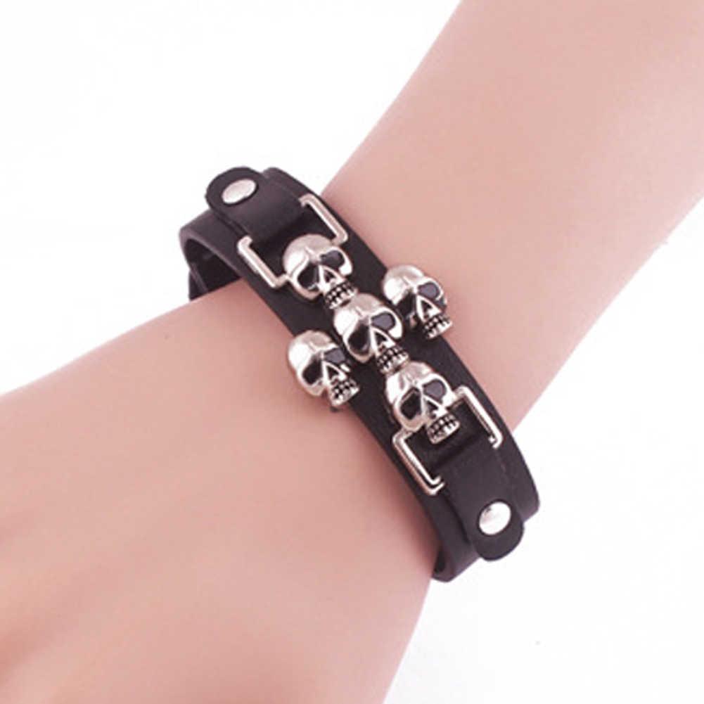 Desain baru Perhiasan Punk Jahat Tengkorak Kulit Wrap Bracelet Wanita Pria Naik Gelang Gelang pribadi