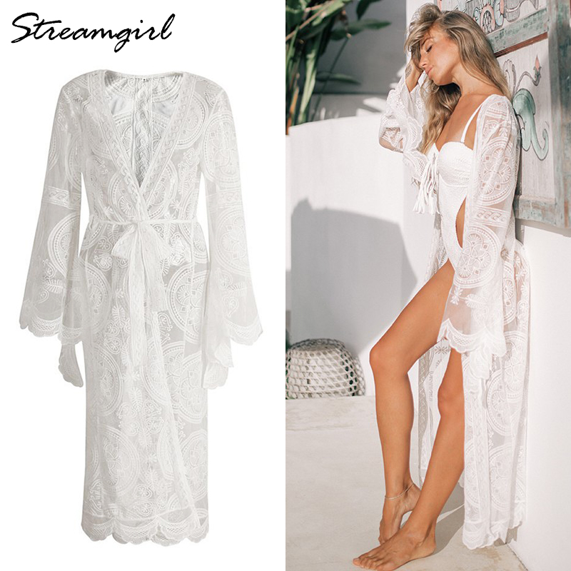 Summer Beach Lace Cardigan Women White Cardigans For Woman Long Sleeve Sexy Kimono Long Cardigan Women Summer Solid Cardigans