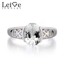 Leige Jewelry 925 Sterling Silver Genuine White Topaz  Gemstone November Birthstone Oval Cut Engagement Wedding Rings for Women