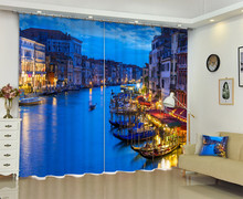 3D Photo Of Venetian Scenery Window Curtain For Living Room
