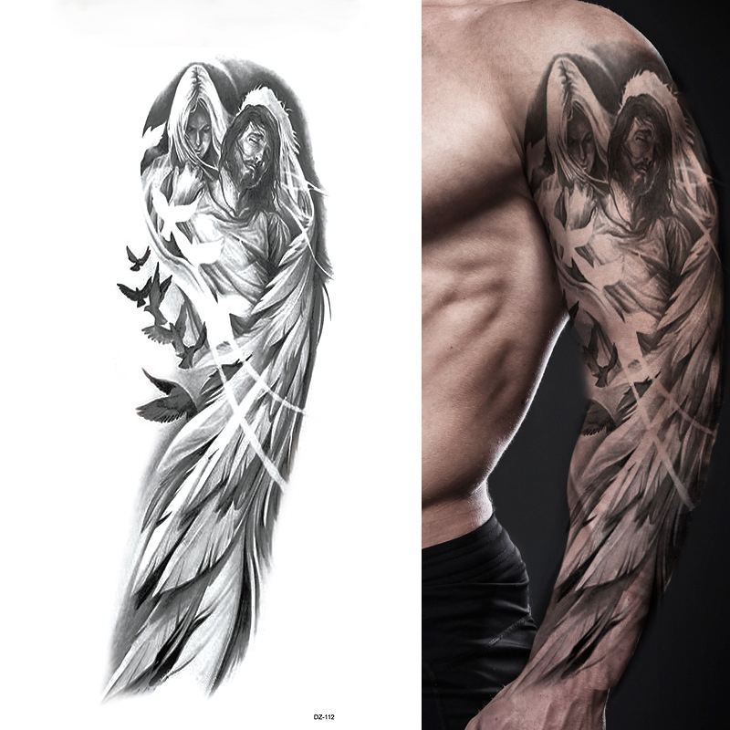 Large Arm Sleeve Tattoo Angel Wings Pigeon Jesus Waterproof Temporary Tattoo Sticker Holy Holiness Men Full Skull Totem Tattoo image