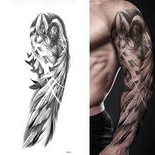 Tatouage temporaire autocollant, manches pour bras, ailes dange, Pigeon jésus, imperméable, tatouage, saint esprit, Totem sur crâne complet pour hommes