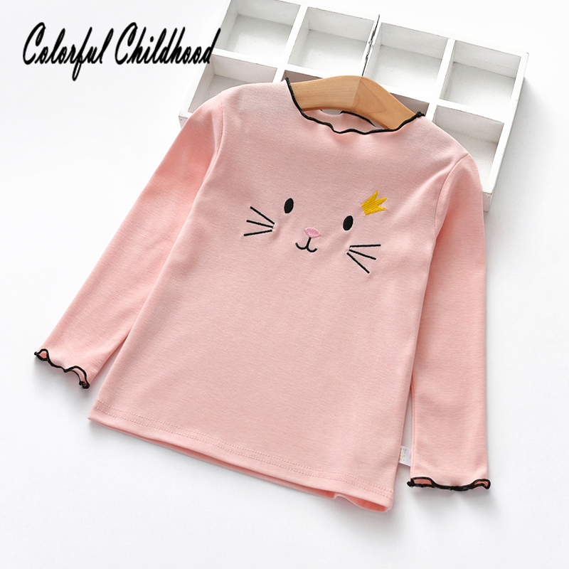 Spring Fall Girls Shirts Cotton Long Sleeve cat embroidery Childrens T-Shirt Girl Kids Baby Toddler Tops And BlousesSpring Fall Girls Shirts Cotton Long Sleeve cat embroidery Childrens T-Shirt Girl Kids Baby Toddler Tops And Blouses
