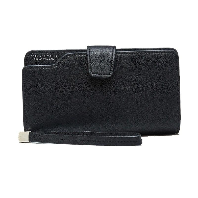 Женский кожаный кошелек, кошелек для отдыха, 3 сложения, высокое качество, Женский Длинный кошелек для монет, много слотов для карт, кошельки, Carteira Feminina - Цвет: Black