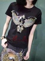 Almoda 2016 Women Summer Style Short Sleeved Tshirts Heavy Work Beading Sequined Popular Eagle Tee Tops