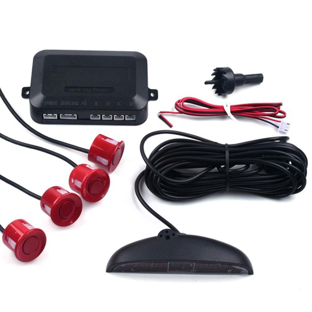 Автомобильный парковочный сенсор обратный резервный радар ЖК-дисплей 12 В 4 сенсор s 22 мм зуммер авто детектор системы комплект для всех автомобилей - Название цвета: red