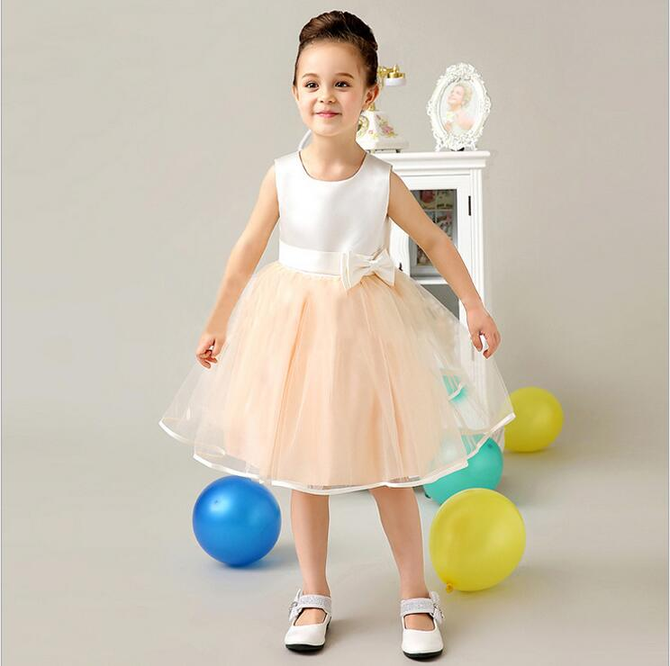 A-Line Flower Girl Dresses For Weddding Knee-Length Mother Daughter Dress Sleeveless First Communion Dresses for Girls with Bow a line knee length taffeta sleeveless flower girl dress for weddings jewel neck princess girls satin mother daughter dresses