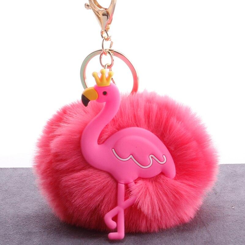 Glücklich Affe Neue Flauschigen Flamingo Pompom Schlüsselanhänger Nette Faux Pelz Ball Dekoration Spielzeug Für Tasche Auto Geschenk Für Mädchen Frauen Online Rabatt Stofftiere & Plüsch