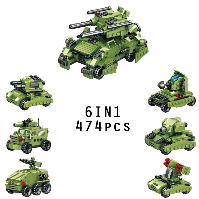 Modern military 6in1 tank building block mini army Rocket Launcher Armored vehicle bricks diy educational toys for kids gifts