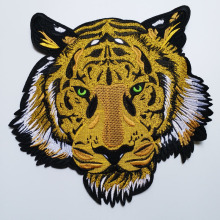 цена на Big tiger patches for clothing 3D embroidered ironing Patches DIY iron on Tiger parches Embroidery applique animals