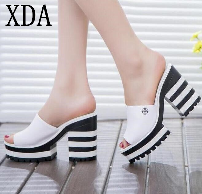 XDA 2018 new sandals women genuine leather sandals thick heel slippers woman platform wedges summer shoes pumps woman flip flops 2017 new summer pep toe woman sandals platform thick heel summer women shoes hook