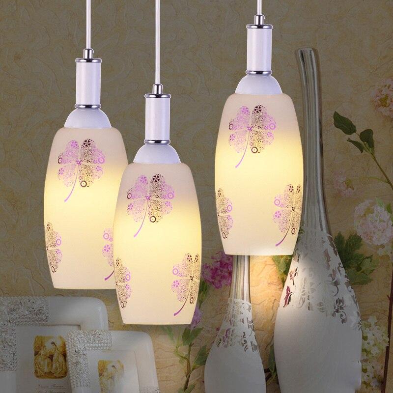 Modern Glass Bottle Dining Room Pendant Lighs printing Flower Pattern Pendant Light Bar Counter Flowers Pendant Fixture