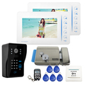 "Brand New Touch 7"" Color LCD Screen Video Door Phone Intercom Kit Code Keypad Doorbell Camera 2 White Monitors + Electric Lock"
